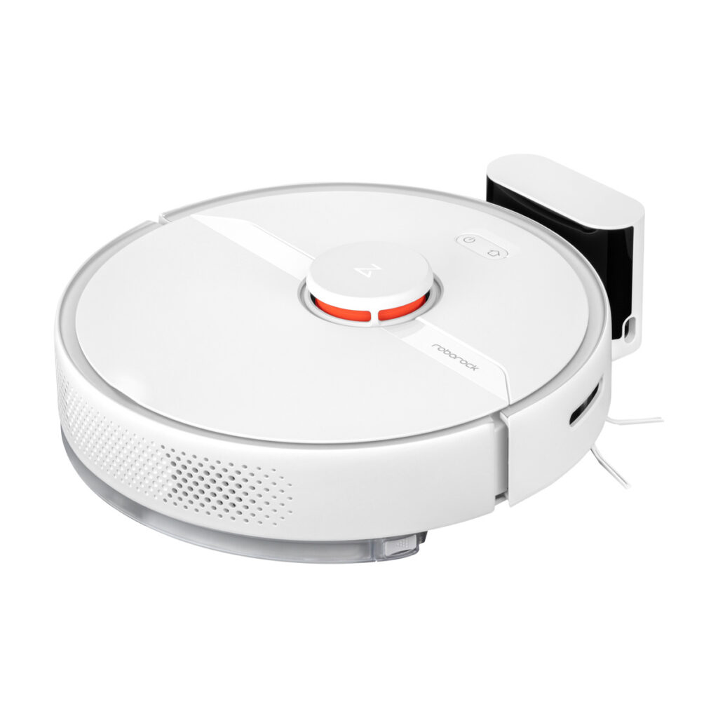 Roborock S6 Pure vacuum cleaner and it's charging station.